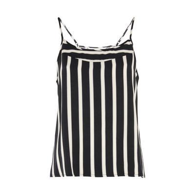 Black/White Viscose Twill Stripe Camisole Top