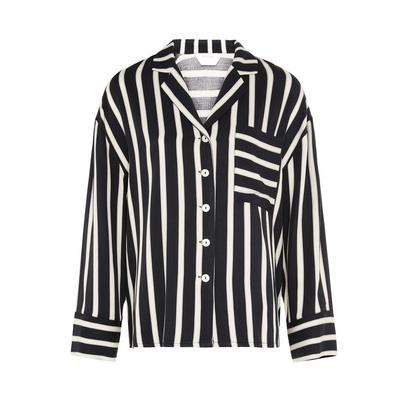 Black/White Viscose Twill Striped Shirt