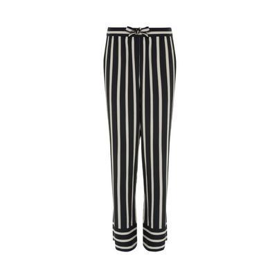 Black/White Viscose Twill Striped Leggings