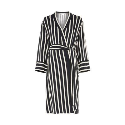 Black/White Viscose Twill Striped Robe