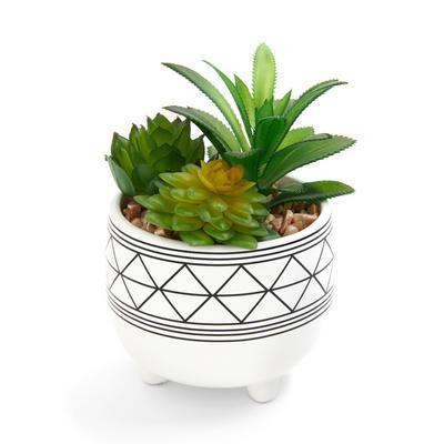 Small White Printed Ceramic Faux Plant Pot