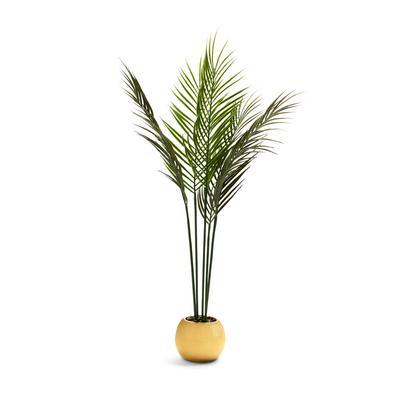 Large Goldtone Faux Fern Plant Pot