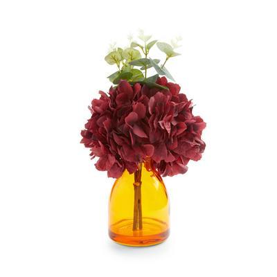 Faux Hydrangea In Amber Glass Vase