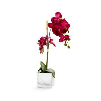 Large White Faux Orchid Plant Pot