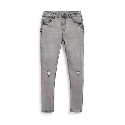 Older Girl Grey Ripped Skinny Jeans