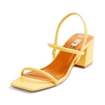 Yellow Low Block Heel Tubular Sandals