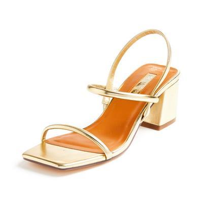 Goldtone Low Block Heel Tubular Sandals