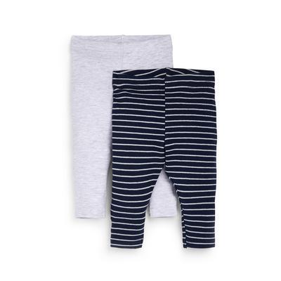 2-Pack Gray And Navy Baby Girl Ankle Leggings