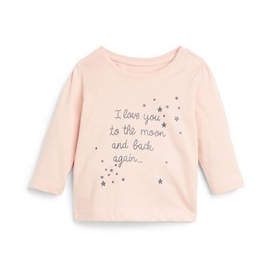 Baby Girl Blush Pink Slogan Print Longsleeve T-Shirt