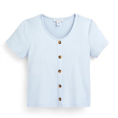 T-shirt blu a coste con bottoni da ragazza