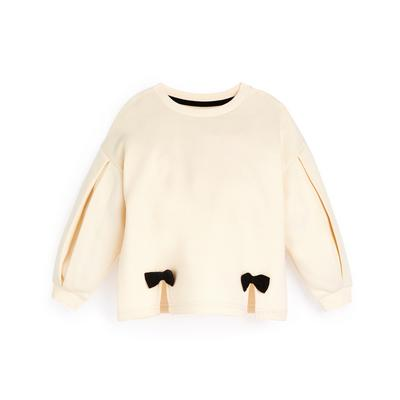 Younger Girl Ivory Bow Detail Sweater