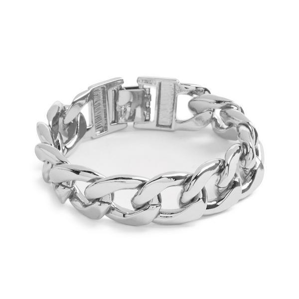 Silvertone Curb Chain Chunky Bracelet