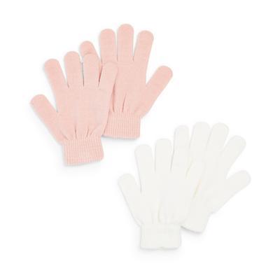 Roze en witte magic handschoenen, 2 paar