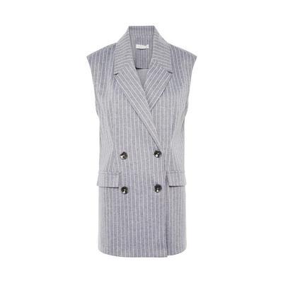 Grey Pinstripe Sleeveless Double Breasted Gilet