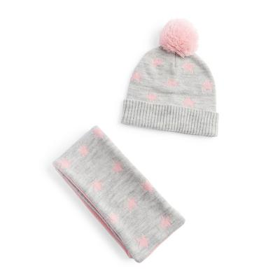 Gray Polka Dot Hat Scarf And Gloves Set