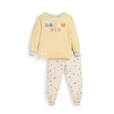 Pijama amarillo con mensaje de Stacey Solomon para niña pequeña