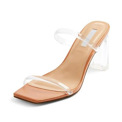 Beige Clear Double Strap Mules