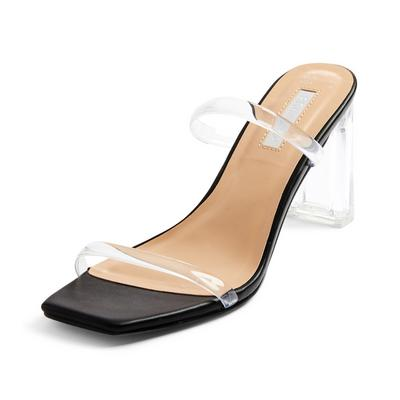 Black Clear Double Strap Mules