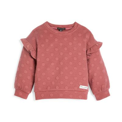 Younger Girl Pink Dot Textured Crew Neck Sweater