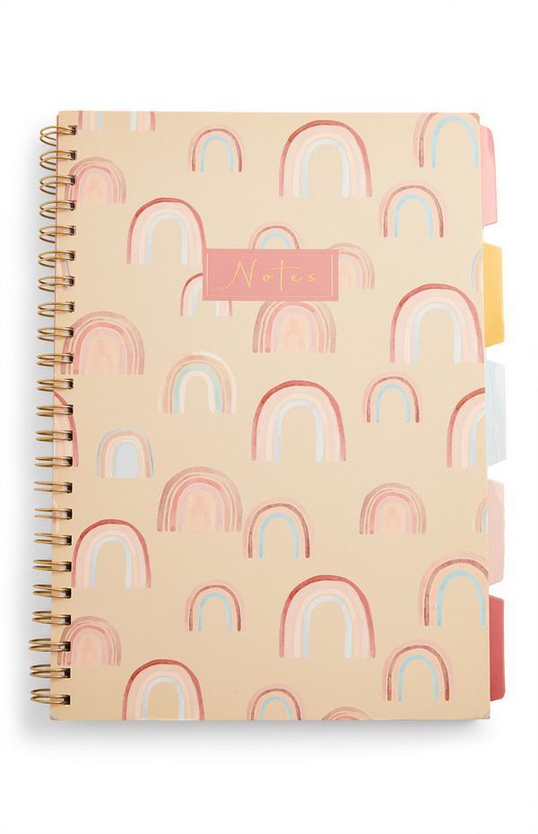 A4-Notizbuch mit Regenbogen-Print und Registerkarten
