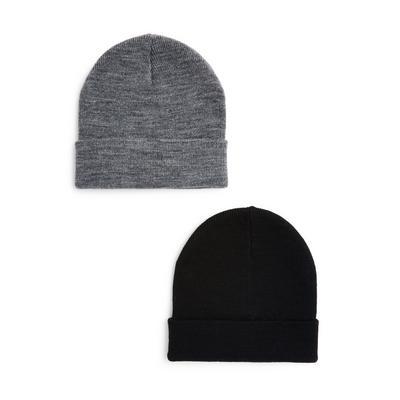 Basic beanies, grijs en zwart, set van 2