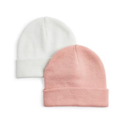 Witte en roze beanies, set van 2