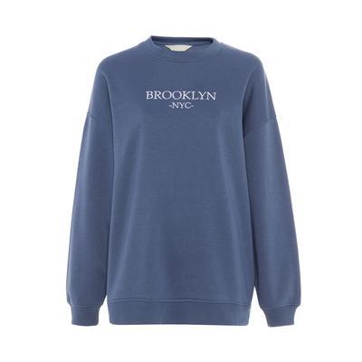 Primark Cares Blue Embroidered Oversized Sweatshirt