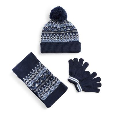 Navy Fair Isle Hat Scarf And Gloves Set