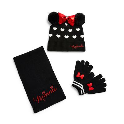 Black Disney Minnie Mouse Hat Gloves And Scarf Set