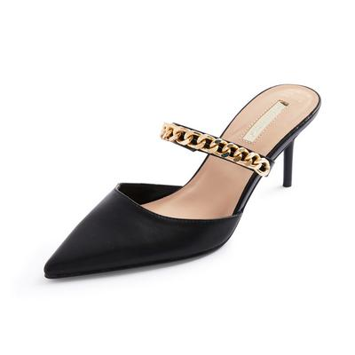 Black Chain Detail Pointed Mules