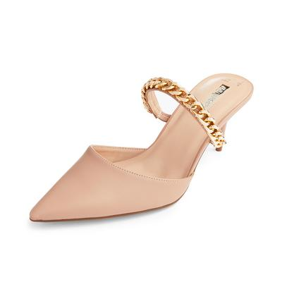 Beige Chain Detail Pointed Mules