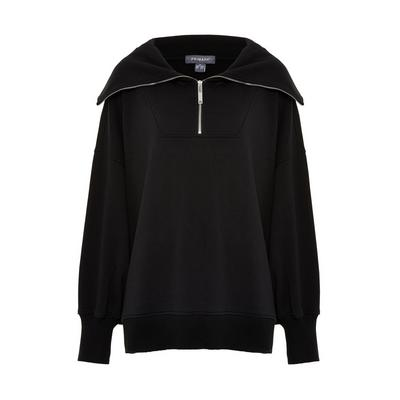 Black Exaggerated Collar Half Zip Jumper