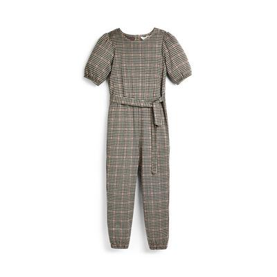 Older Girl Grey Check Jumpsuit