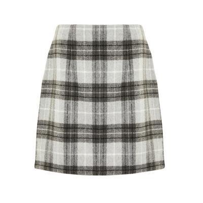 Gray Check Brushed Mini Skirt