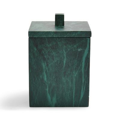 Tarro para almacenaje cuadrado verde efecto mármol