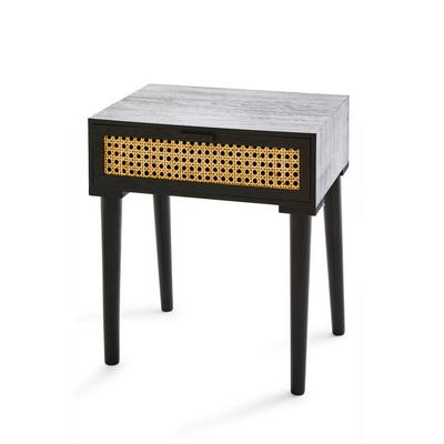 Black Rattan Bed Side Table