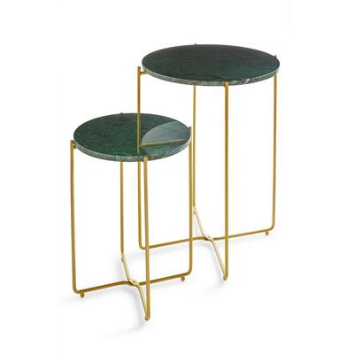 Green Marble Nested Side Tables 2 Pack
