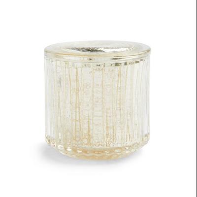 Tarro de almacenaje de vidrio transparente con estampado de mercurio