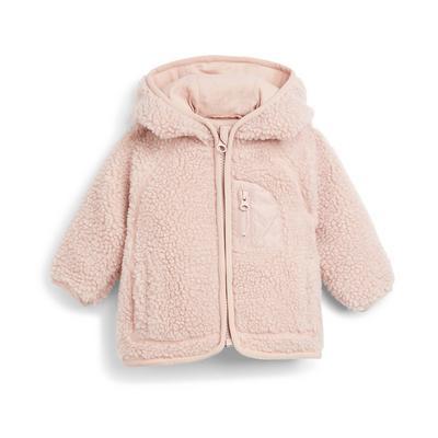 Baby Girl Pink Borg Hooded Zipper Jacket