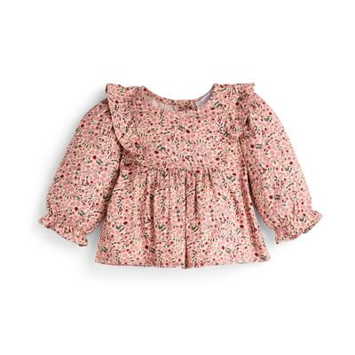 Baby Girl Pink Floral Print Blouse