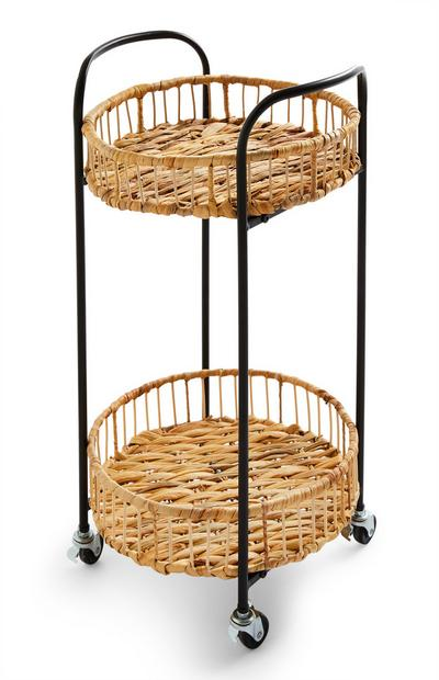 Woven Straw Trolley With Castors