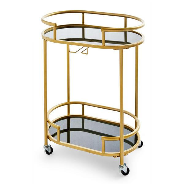 Goldtone Oval Bar Cart With Castors