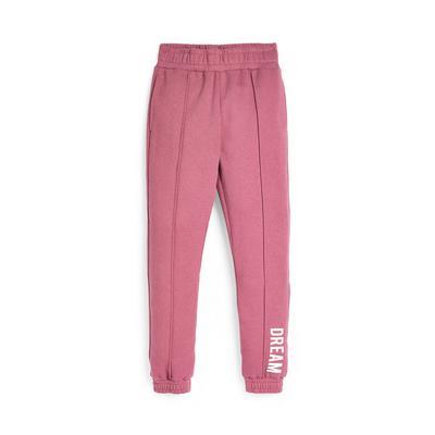 Older Girl Pink Slogan Pintuck Joggers