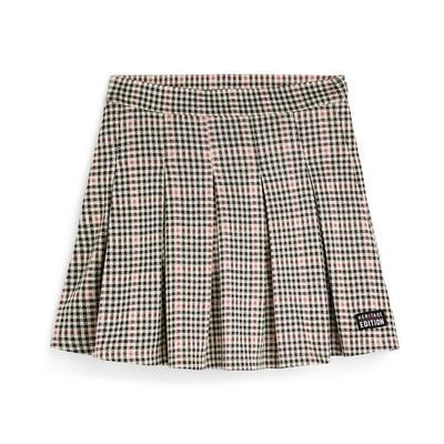 Older Girl Multi Check Pleated Skirt
