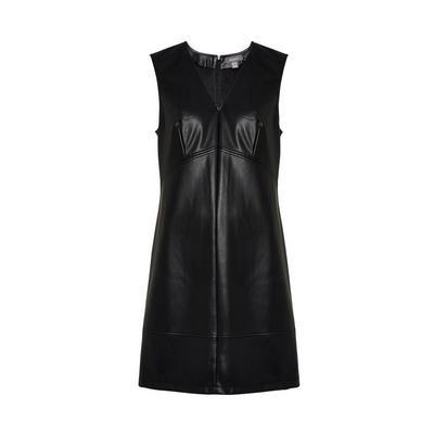 Black Faux PU Leather Pinafore