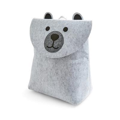 Grey Felt Teddy Bear Laundry Hamper