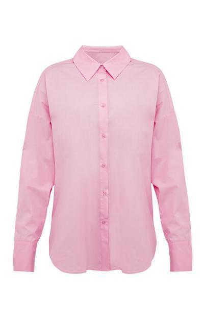 Chemise rose pastel boutonnée en popeline