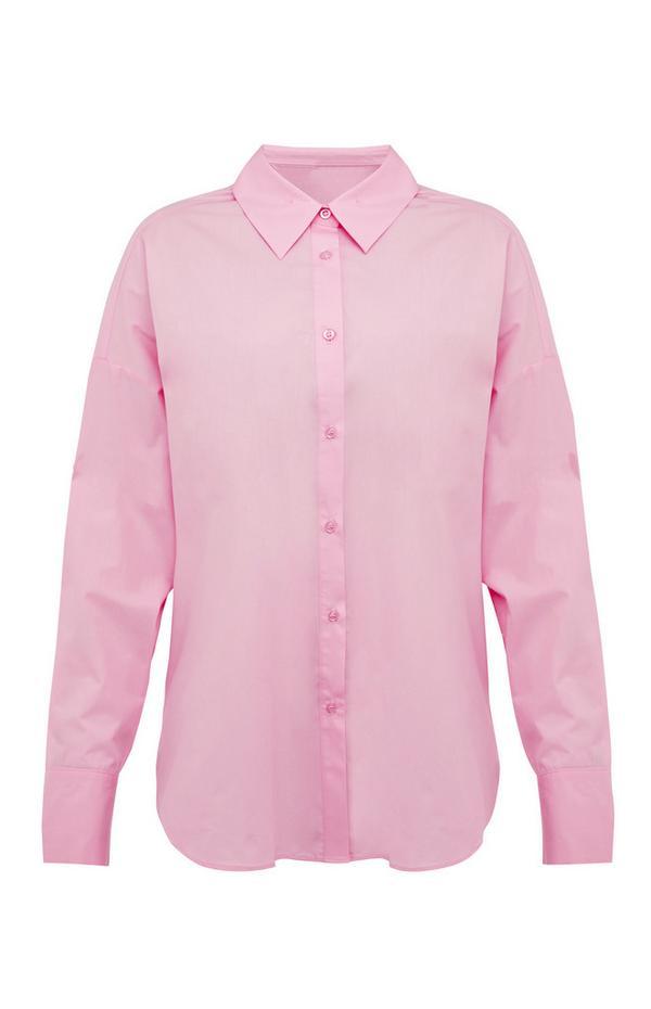 Pastelroze overhemd van popeline met knoopjes