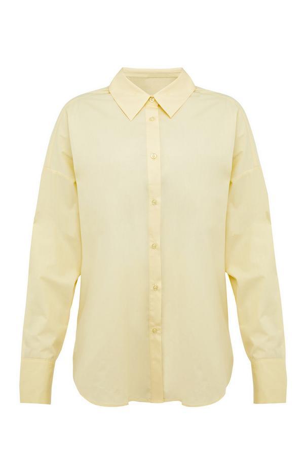 Pastellgelbes Popeline-Hemd mit Knopfleiste