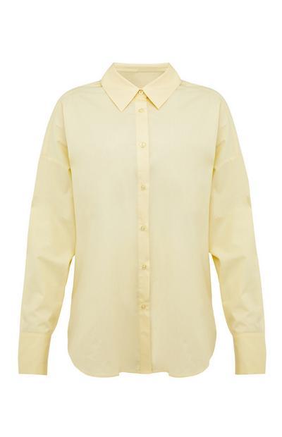 Chemise jaune pastel boutonnée en popeline